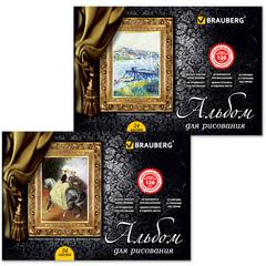"""Альбом для рисования, 24 л., BRAUBERG (БРАУБЕРГ), гребень, обложка мелов. картон, выб. лак, 120 г/м2, """"Великие художники"""", 2 вида"""
