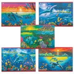 """Альбом для рисования, 12 л., HATBER VK, обложка офсет, 100 г/м2, """"Дельфины"""" (5 видов)"""