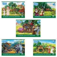 """Альбом для рисования, 12 л., HATBER, обложка мелованный картон, 100 г/м2, 4D-игра, """"Волки и овцы"""""""