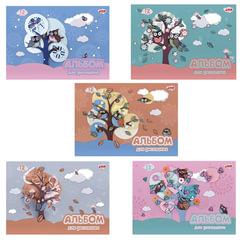 """Альбом для рисования, 12 л., HATBER, обложка мелованный картон, 100 г/м2, """"Совушки"""""""