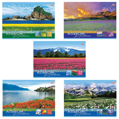 """Альбом для рисования, 32 л., HATBER (VK), обложка офсет, 100 г/м2, """"Мир в цветах"""""""