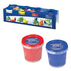 Пластилин на растительной основе (тесто для лепки) STAEDTLER (Штедлер, Германия), 4 цвета, 520 г, (белый, желтый, красный, синий)