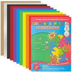 Цветная бумага, А4, волшебная, 18 листов, 10 цветов, АППЛИКА, 200х290 мм