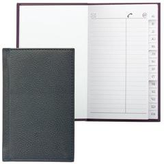 """Телефонная книжка А7, 80х130 мм, 56 л., BRAUBERG (БРАУБЕРГ), вырубной алфавит, """"Favorite"""", под классическую кожу, черная"""