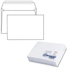 Конверт С5, комплект 100 шт., отрывная полоса STRIP, белый, 162х229 мм, 80 г/м2