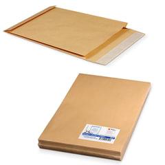 Конверт-пакет В4 объемный, комплект 25 шт., 250х353х40 мм, отрывная полоса, крафт-бумага, коричневый, на 300 листов