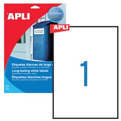 Этикетка самоклеящаяся APLI на листе формата А4, 1 этикетка, размер 210х297 мм, всепогодная, белая, 20 л., 01228