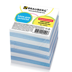 Блок для записей BRAUBERG (БРАУБЕРГ), непроклеенный, 9х9х9, голубой+белый