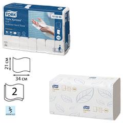 Полотенца бумажные 110 шт., TORK (H2) Premium, комплект 21шт., 2-х слойные, белые, 21х34 см, Interfold, диспенсер 600282, 100288