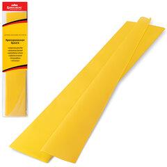 Цветная бумага крепированная BRAUBERG (БРАУБЕРГ), стандарт, растяжение до 65%, 25 г/м2, европодвес, желтая, 50х200 см