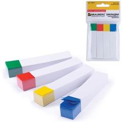 Закладки самоклеящиеся BRAUBERG (БРАУБЕРГ), бумажные, 75х14 мм, 4 цв.х100 л., белые с цветным краем
