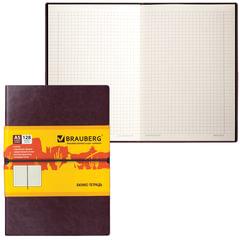 """Бизнес-блокнот BRAUBERG (БРАУБЕРГ), А5, 148х218 мм, """"Western"""" (""""Вестерн""""), гладкий кожзам, резинка, клетка, 128 л., коричневый"""