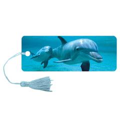 """Закладка для книг с линейкой 3D BRAUBERG (БРАУБЕРГ), объемная c движением, """"Дельфин"""", декоративный шнурок-завязка"""