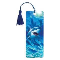 """Закладка для книг с линейкой 3D BRAUBERG (БРАУБЕРГ), объемная, """"Акула"""", декоративный шнурок-завязка"""