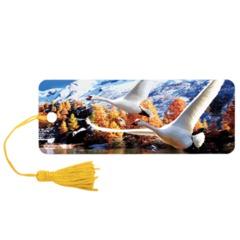 """Закладка для книг с линейкой 3D BRAUBERG (БРАУБЕРГ), объемная, """"Лебеди"""", декоративный шнурок-завязка"""