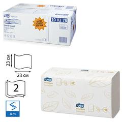 Полотенца бумажные 200 шт., TORK (H3) Premium, комплект 15 шт., 2-х слойные, белые, 23х23, ZZ (V), диспенсеры 600163, -283, 100278