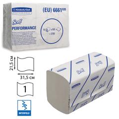 Полотенца бумажные 180 шт., KIMBERLY-CLARK Scott, комплект 15 шт., Performance, белые, 31,5х21,5 см, Interfold, 601533-534, 6661