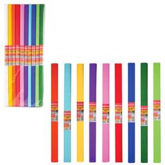 Цветная бумага крепированная BRAUBERG (БРАУБЕРГ), комплект 200 рулонов, 10 цветов, ассорти, плотная, 32 г/м, 50х250 см