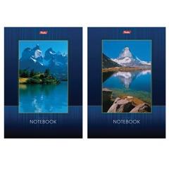 """Блокнот А5, 40 л., склейка, выборочный лак, HATBER, """"Озеро в горах"""", 145х205 мм"""