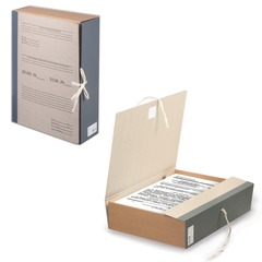 Короб архивный STAFF, 8 см, переплетный картон, корешок - бумвинил, 2 х/б завязки, до 700 л.