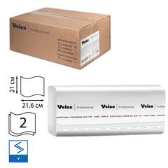 Полотенца бумажные 200 шт., VEIRO (F1), комплект 15 шт., Comfort, 2-слойные, белые, 21х21,6, V, диспенсеры 600163, -283