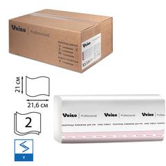 Полотенца бумажные 200 шт., VEIRO Professional (F1), комп. 15 шт., Premium, 2-слойные, белые, 21х21,6, V, 600163, -283, 601533-534