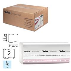 Полотенца бумажные 150 шт., VEIRO Professional (F2), комплект 21 шт., Premium, 2-слойные, белые, 32х21,6, W, диспенсеры 601533-534