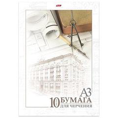 "Папка для черчения HATBER, А3, 295х420 мм, 10 л., без рамки, 190 г/м2, ""Архитектура"""