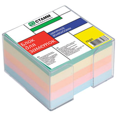 Блок для записей СТАММ в подставке прозрачной, куб 8х8х5, цветной