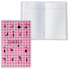 """Ежедневник недатированный, А6, 101х160 мм, 50 л., с шариковой ручкой, прозрачная обложка ПВХ, """"Cats"""", ДПС"""