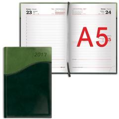"""Ежедневник BRAUBERG (БРАУБЕРГ) датированный 2017, А5, 138х213 мм, """"Bond"""" (""""Бонд"""")"""", """"комбинированная кожа"""", 168 л., зеленый/салат."""