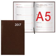"""Еженедельник BRAUBERG (БРАУБЕРГ) датированный 2017, А5, 148х218 мм, """"Profile"""" (""""Профиль""""), """"фактурная кожа"""", 64 л., коричневый"""