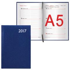 """Еженедельник BRAUBERG (БРАУБЕРГ) датированный 2017, А5, 148х218 мм, """"Profile"""" (""""Профиль""""), """"фактурная кожа"""", 64 л., синий"""