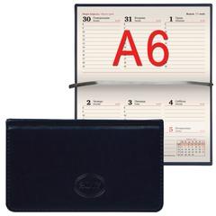 """Еженедельник BRAUBERG (БРАУБЕРГ) датированный 2017, А6, 95х155 мм, """"Imperial"""" (""""Империал""""), """"гладкая кожа"""", 64 л., темно-синий"""
