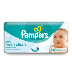 """Салфетки влажные, 64 шт., PAMPERS (Памперс) """"Baby Fresh Clean"""", для нежного очищения"""