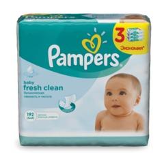 """Салфетки влажные, 64 шт. х 3, PAMPERS (Памперс) """"Baby Fresh Clean"""", для нежного очищения"""
