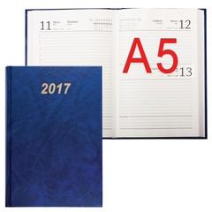 Ежедневник BRAUBERG (БРАУБЕРГ) датированный 2017, А5, 145х215 мм, 160 л., обложка бумвинил, синий