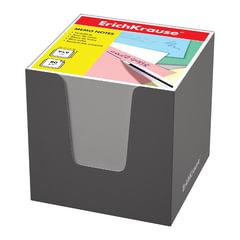 Блок для записей ERICH KRAUSE в подставке картонной серой, куб, 9х9х9 см, белый