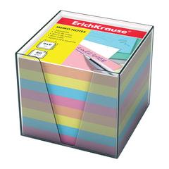 Блок для записей ERICH KRAUSE в подставке прозрачной, куб, 9х9х9 см, цветной