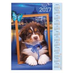 """Календарь А2 на 2017 г., HATBER, 45х60 см, вертикальный, """"Пушистый щенок"""""""