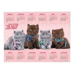 """Календарь А2 на 2017 г., HATBER, 45х60 см, горизонтальный, """"Котята"""""""