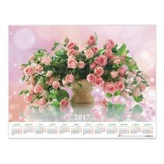 """Календарь А2 на 2017 г., HATBER, 45х60 см, горизонтальный, """"Роскошные розы"""""""