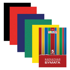 "Цветная бумага, А4, бархатная, самолеящаяся, 5 листов, 5 цветов, HATBER, ""Creative"", 194х280 мм"