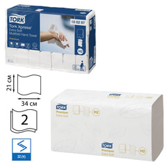 Полотенца бумажные 100 шт., TORK (H2) Premium, комплект 21 шт., 2-слойные, белые, 21х34 см, Multifold, диспенсеры 602935 -940