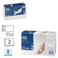 Полотенца бумажные 190 шт., TORK (H2) Advanced, 2-слойные, белые, 21х23 см, Multifold, диспенсеры 602935-940