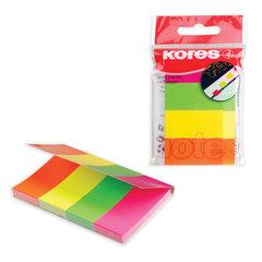 Закладки самоклеящиеся KORES, неоновые, бумажные, 20х50 мм, 4 цвета х 50 шт., европодвес