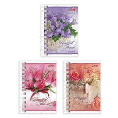 """Записная книжка, А7, 67х102 мм, 40 л., гребень, обложка мелованный картон, HATBER, """"Магия цветов"""""""