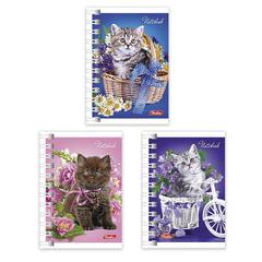 """Записная книжка, А7, 67х102 мм, 40 л., гребень, обложка мелованный картон, HATBER, """"Нежные котята"""""""