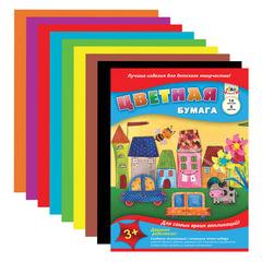 Цветная бумага А4, 14 листов, 8 цветов, АППЛИКА, 205х280 мм