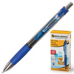 """Ручка гелевая BRAUBERG """"Supreme"""" (БРАУБЕРГ """"Суприм""""), автоматическая, корпус синий, толщина письма 0,5 мм, резиновый держ., синяя"""